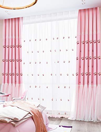 Lactraum Gardine Kinderzimmer Mädchen Bestickt Kirsche Schleife Voile mit Universalband 200 x 260 cm