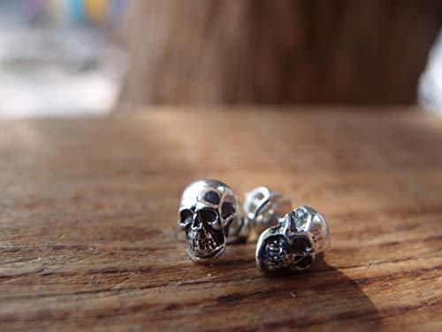 Skull stud earrings silver skull studs small skull earrings FREE SHIPPING handcrafted Unisex earrings