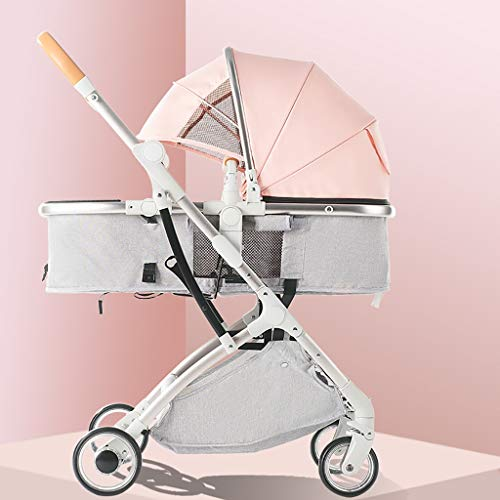 JIAX Baby Stroller Pram Stroller - All Terrain Pushchair Stroller Compact Convertible Strollers Rose Gold Frame Ightweight Travel Stroller – Suitable From Birth (Fresh Grey) (Color : Pink)