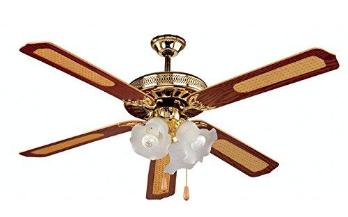 Kooper 2172386 Ventilatore a soffitto con 5 Pale e 3 lampade, Marrone, 65 W, Other