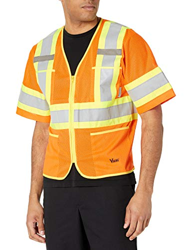 "Viking Class 3 Hi-Vis Safety Vest with U Configuration 4"" Reflective Tape, Orange, Medium"