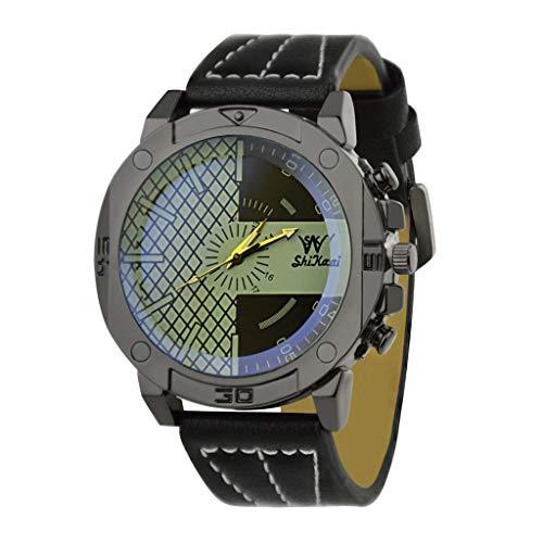 Transer Comfort Trend Personalità Guarda Cinturino in Pelle al Quarzo Fashion Casual Watch, per Uomo e Donna, per SHIKAI ZYBSK-14 (Black)