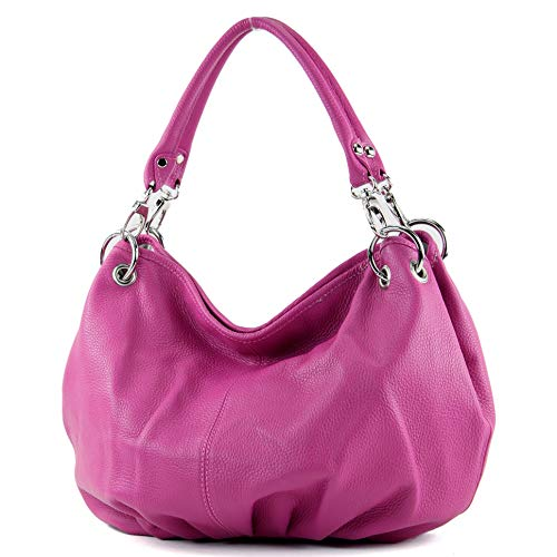 modamoda de - IT40 - ital. Damentasche aus Nappaleder/Leder, Farbe:Pink Leder