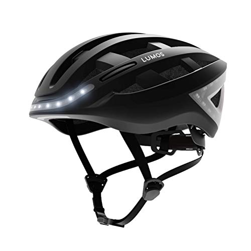 Lumos LKHE Kickstart Smart Bike Helmet, Charcoal Black | Front and Rear LED Lights | Turn Signals | Brake Lights