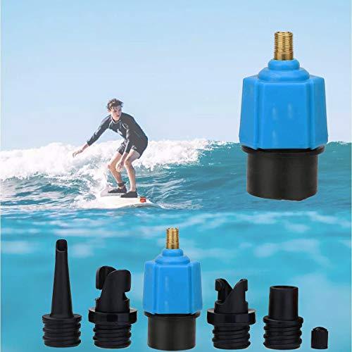 Adaptador Bomba Inflado SUP Convertidor, Adaptador Kayak de Válvula Air Multifunción Convertidor, Portátil Accesorio Adaptador de Bomba con 4 boquillas de SUP para cama Inflado Barco Tabla de Surf