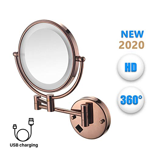 Clioy make-upspiegel met ledverlichting en 5-voudige vergrotingsspiegel, 360 graden horizontaal draaibaar en verticaal voor het opmaken en scheren, opladen via USB