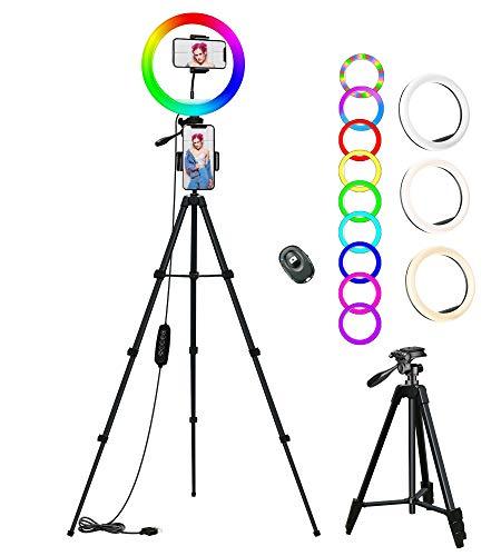 Ringlicht mit Stativ, COOLHOOD 10 Zoll Selfie Led Ringleuchte mit 18 RGB-Lichtmodi 12 Helligkeit, Fernbedienung, 3 Handyhalter, für Fotografie,Makeup,YouTube,Tik Tok