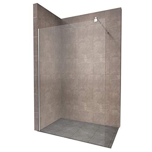 Duschabtrennung Duschwand Walk In Dusche 10mm STARK aus DURCHSICHTIGEM ESG Sicherheitsglas mit Edelstahl Wandprofilen #740 (70 x 200cm, Klares Glas)