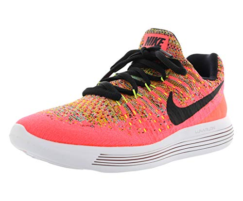 Nike Kids LunarEpic Low Flyknit 2 GS, HOT PUNCH/BLACK-POLARIZED BLUE, Youth Size 4.5