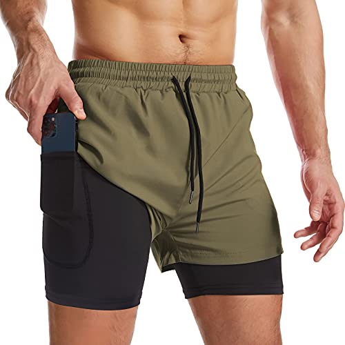 Surenow Mens 2 in 1 Running Shorts Quick Dry Athletic Shorts with Liner, Workout Shorts with Zip Pockets and Towel Loop Green
