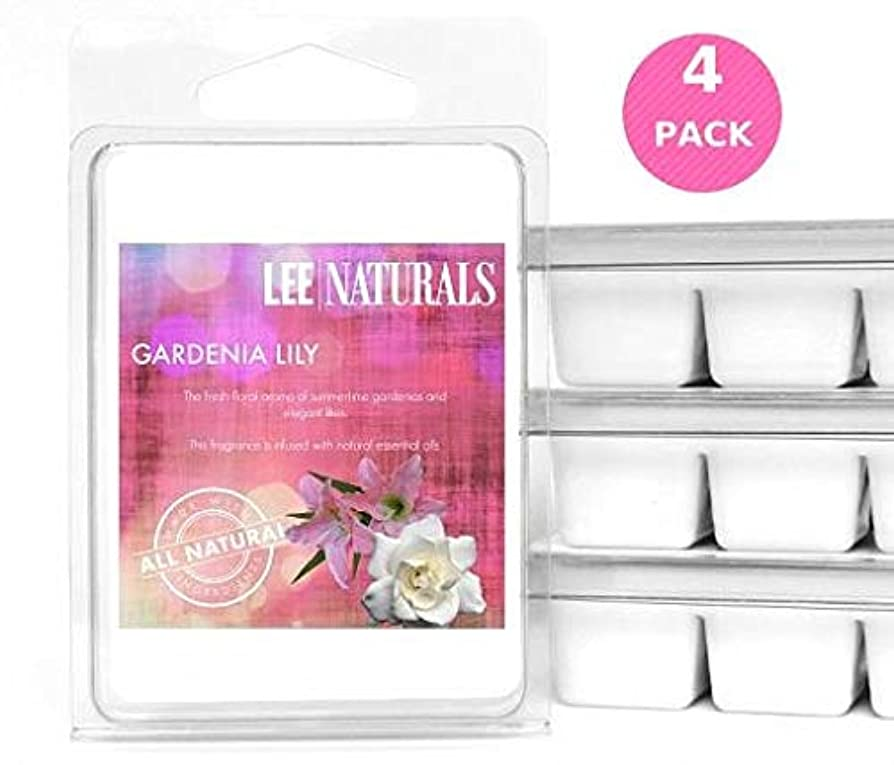 Lee Naturals Classic Collection - (4 Pack) GARDENIA LILY Premium All Natural 6-Piece Soy Wax Melts. Hand Poured Naturally Strong Scented Soy Wax Candle Cubes efnjzbbfiuuc1