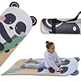 ABTECH Kids Yoga Mat, Cute Panda Mat for Girls and Boys w/ Panda Ears, Non Slip Kids Exercise Equipment, Lightweight, Comfortable, w/ Yoga Straps for Easy Carrying, Ages 3-12 60x24x0.2 Inches