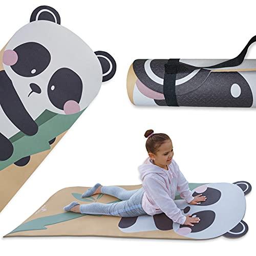 Kids Yoga Panda Mat for Girls and Boys w/ Panda Ears by ABTECH. Cute Non Slip Kids Exercise Equipment, Lightweight…