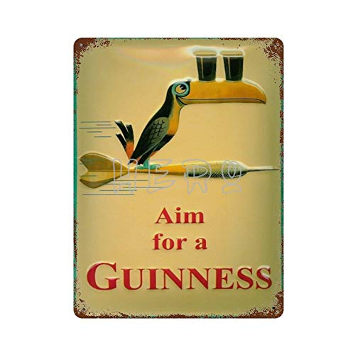 Guinness Bier Dart Tucan Blechschild Cerveza impresión Plana Vintage Tin Sign Art Iron Painting Rusty Poster Decoración Placa de Aluminio Interesante Personalidad Banda película para Hotel Cafe