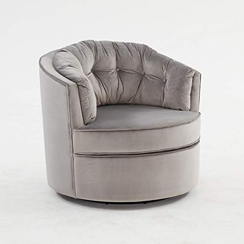 Carkoci Modern Swivel Chair Velvet Sofa Chair with Thick Seat Cushion and Backrest Barrel Chair for Home Office Study Hotel Living Room Vanity Bedroom Leisure Chair(Silver Grey)…