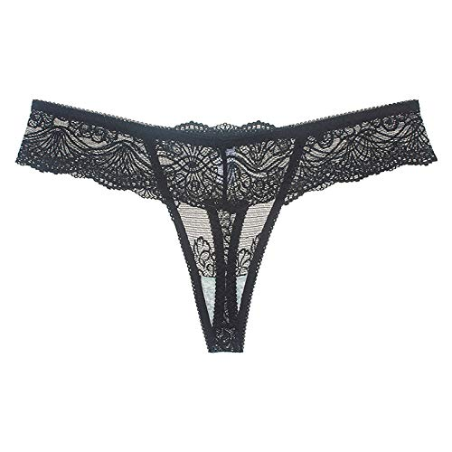 XUEBing Tanga ropa interior para mujer encaje ajuste suave lencería sexy transparente hueco de baja altura sin costuras