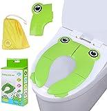 Teabelle Asiento de inodoro plegable para casa y viaje, cubierta para WC de más de 12 meses y hasta 60 libras reductora de WC como protector para bebés, niños pequeños (Verde)