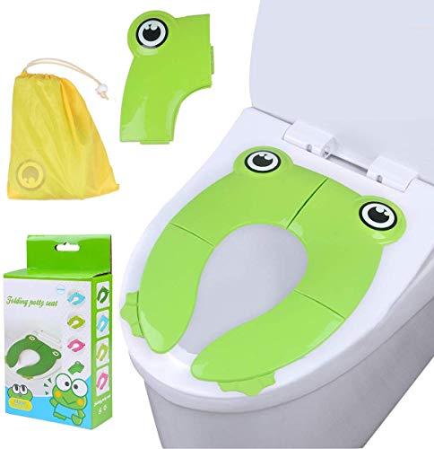 Teabelle Reductor WC Niños, Asiento de Inodoro Plegable para casa y Viaje, Cubierta para WC de más de 12 Meses y hasta 60 Libras Reductora de WC como Protector para bebés, niños pequeños (Verde)