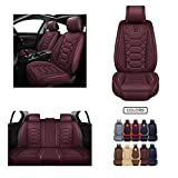 Leather Car Seat Covers, Faux Leatherette Automotive Vehicle Cushion Cover for Cars SUV Pick-up Truck Universal Fit Set for Auto Interior Accessories (OS-004 Front Pair, Burgundy) -  Oasis Auto