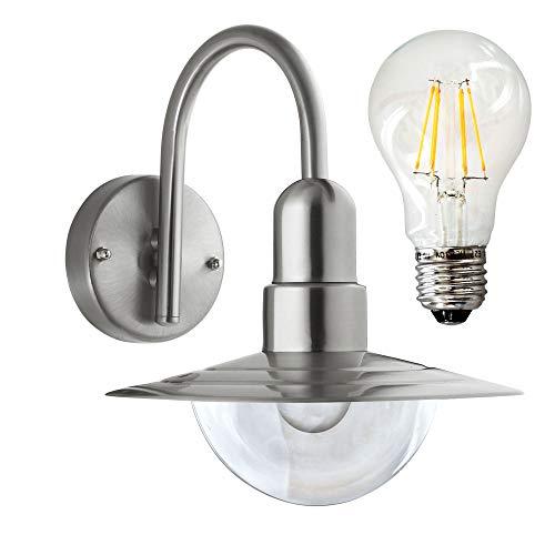 LED Außenleuchte Außenleuchte Außenstrahler Edelstahl inkl. E27 6W 600 Lumen Birne warmweiß Wandleuchte Außenleuchte Bogenleuchte Bogenlampe Lampe Wandlampe Leuchte Außenlampe (157CDN)