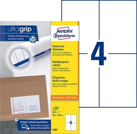 Avery Zweckform Universaletikett 3483 105x148mm weiß 400 St./Pack. - Universaletiketten Vielzwecketiketten Haftetiketten Adressetiketten Computeretiketten Produktetiketten