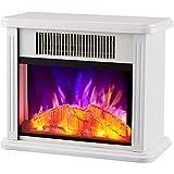 XIANGAI Calefactor Cocina eléctrica Chimenea Calentador portátil Cocina eléctrica Chimenea Calentador con 3D Llamas Blancas, Color: Negro (Color : White)