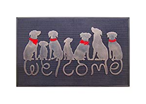 Welcome mat with dog tails