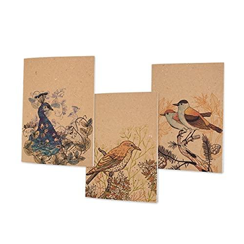ALFABET – Set 3 quaderno appunti, Natura, Animali, Uccelli, Carta Riciclata, Avana, Righe, Calligrafia, Lettering, Appunti, Diario, Viaggio, Idea, Regalo