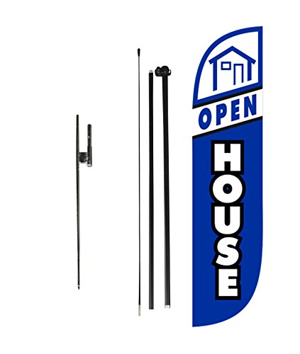 LookOurWay Open House Blue Feather Flag Set with Poles & Ground Spike, 5-Feet