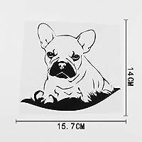 ステッカー剥がし 15.7CMX14CMラブリーフレンチブルドッグ子犬犬ビニール車ステッカーブラック/シルバー ステッカー剥がし (Color Name : Black)