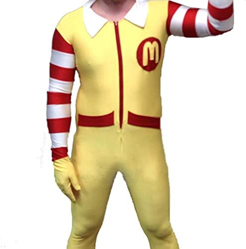 Disfraz para adulto del payaso Ronald McDonald, para hombre, de una pieza, en licra, spandex , Adulto M
