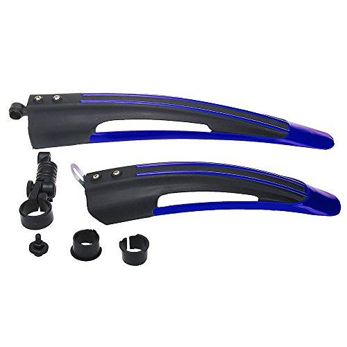 2PCS Guardabarros Delantero Trasero para Bici MTB Color Azul Negro