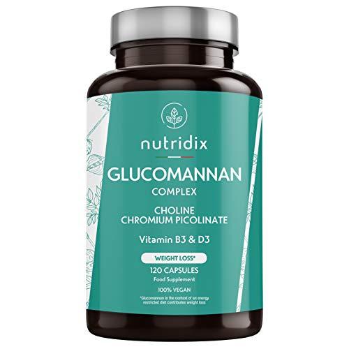 Glucomanano Konjac - 3150mg por dosis - Ayuda a Adelgazar en Dietas Bajas en Calorías - Glucomanano Natural con Cromo, Colina, Vitamina D3 y B3-120 cápsulas Nutridix