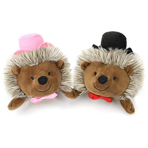 Pawaboo [2 PZS Juguete de Felpa para Perro, Juguetes Cachorros de Sobrero Rosa y Negro, Super Suave de Imitación de Piel, Peluches para Masticar Seguros para Mascotas Pequeñas Medianas