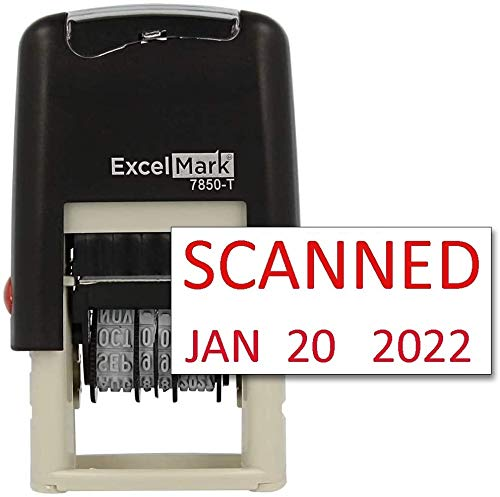 ExcelMark Scanned Date Stamp - Compact Size (Red Ink)