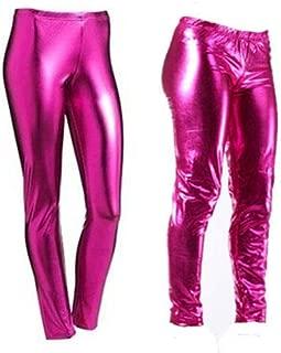 Women Metallic Leggings Foil Wet Look Shiny Ladies Pant Disco Party Club Legging#(Pink Metallic Shiny Legging#UK 12#Womens)