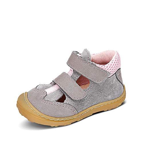 RICOSTA Mädchen Kletthalbschuhe EBI von Pepino, Weite: Mittel (WMS), Halbschuh Klettverschluss strassenschuh Sneaker,Graphit/Rose,24 EU / 7 Child UK