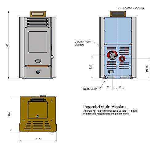 STUFA A PELLET VENTILATA ALASKA 10 KW, 80 MQ di Superficie riscaldabile (ROSSO)