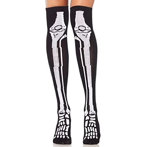 Leg Avenue Chaussettes Longues avec Motif Squelette Noir/Blanc Taille Unique