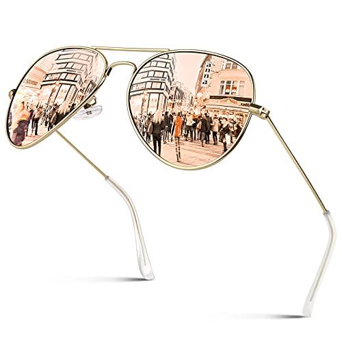 GQUEEN Pilotenbrille Damen Polarisierte Sonnenbrille Pilot 58MM Leichte Metalllegierung UV400