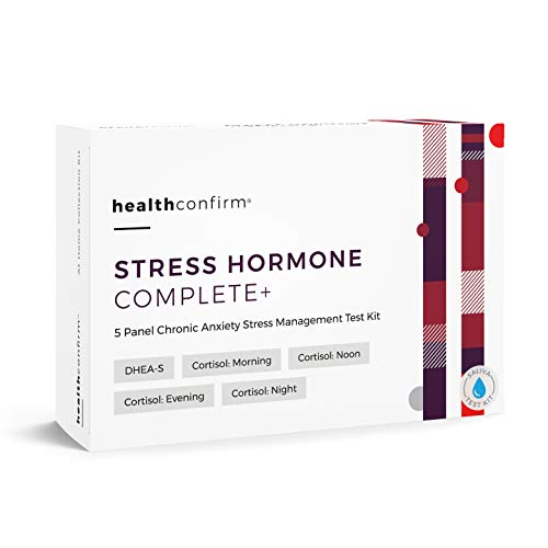 HealthConfirm - Stress Hormone Complete - At-Home Test Kit - 5 Panel Full Day Chronic Anxiety Stress Saliva Collection Kit