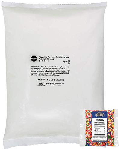 Frostline Lactose Free Pistachio Flavored Soft Serve Mix 6 Pound Bag with By The Cup Rainbow Sprinkles