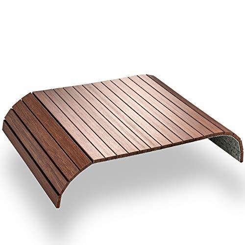Green'n'Modern Bandeja marrón de madera de bambú | Bandeja de madera como revestimiento de sofá para sofá y muebles de asiento | Bandeja con reposabrazos para sofá (marrón castaño)