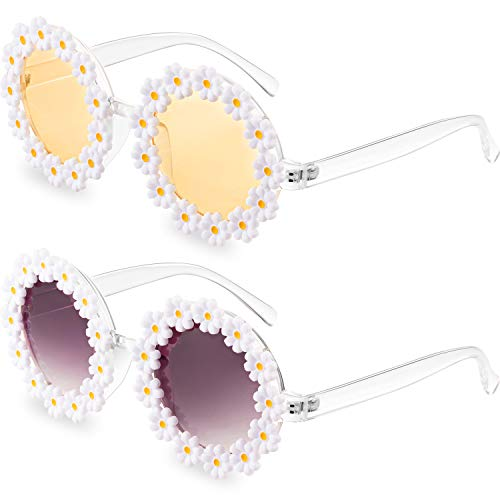 2 Pairs Women Daisy Round Party Sunglasses Flower Shape Eyewear Funny Sunglasses Party Favors with 2 Pieces Glasses Cloth 2 Pieces Flannel Bag