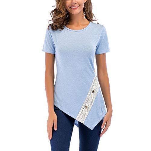Femmes été Slim Print T-Shirt Elastique Tee Tunique Tops avec manches courtes - Bleu (L