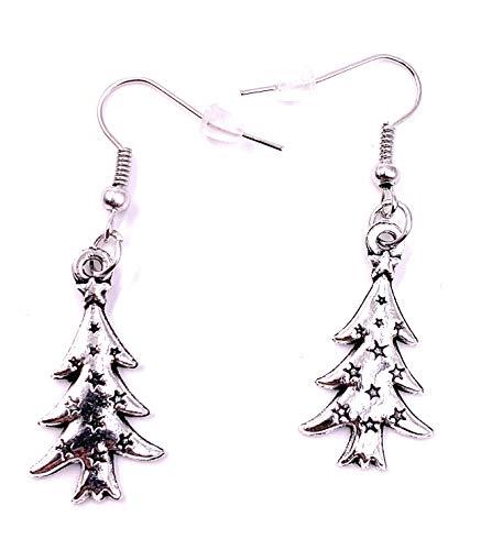 H-Customs Pendientes Abeto árbol de Navidad Pendientes Colgante de Metal Plateado
