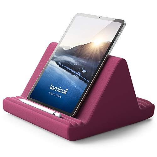 Lamicall Cuscino Supporto per Tablet - Supporto Tablet per Cuscino per Divano Letto, 2020 iPad Pro 9.7, 10.5, 12.9, iPad Air mini 2 3 4, Switch, Samsung Tab, iPhone, Libri, altro Tablet -Rosso Porpora