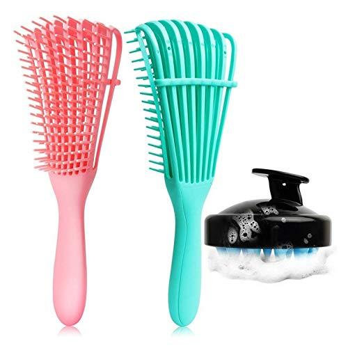 YUANLIN Peine 3 PCS/Set Dimangling Cepillo Set Detangler Cepillo de Dentangler para el Cabello Negro Natural Peinado Rizado Seco y Húmedo Cuero cabelludo Massager Shampoo Cepillo Peine Barba