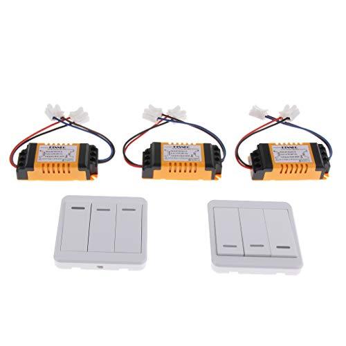 IPOTCH Interruptor Inalámbrico de 3 Vías con Receptor/Control Remoto, Creación Rápida de Cableado de Encendido/Apagado, Distancia de Control Remoto 50 M