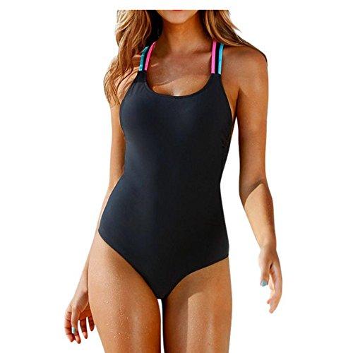 Fossen Mujer Bikinis con Relleno Trajes de una Pieza Ropa de baño Bañador de Escotado por detrás (M, Negro)